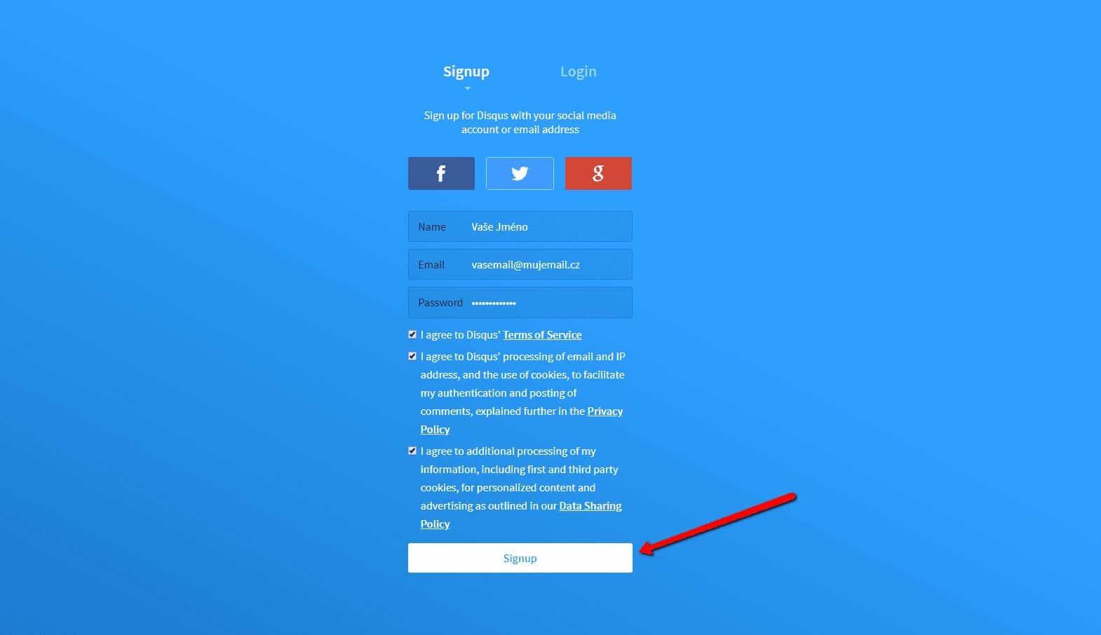 Prihlásiť sa môžete účtom sociálnych sietí alebo emailom.