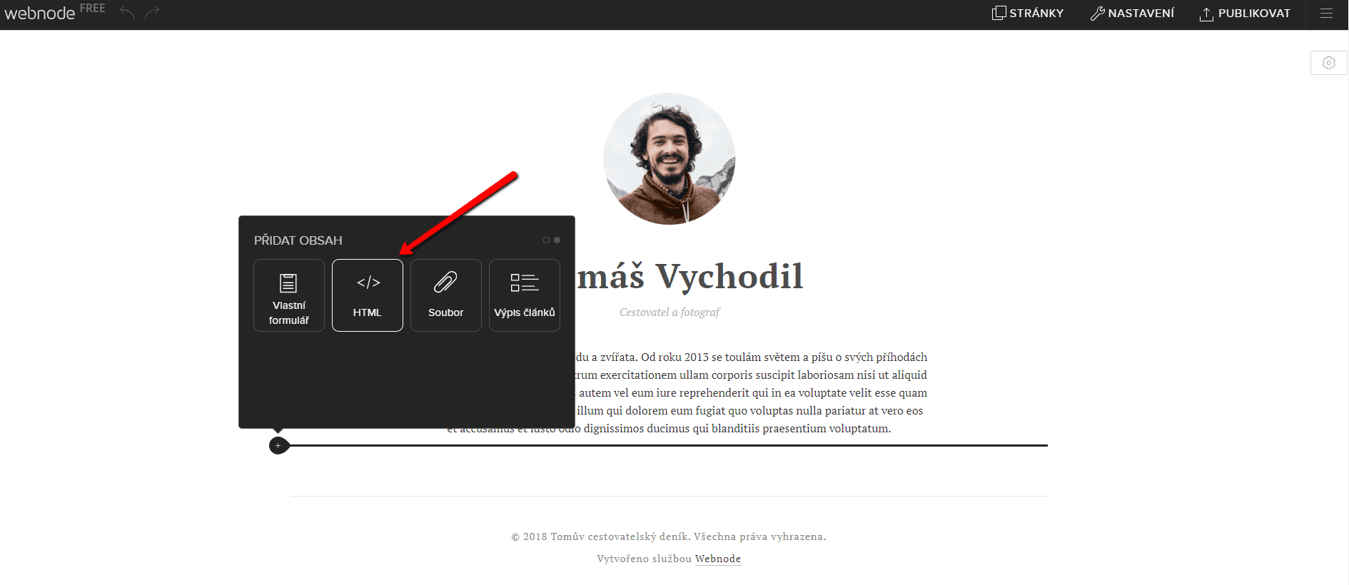 Vložte kód na web