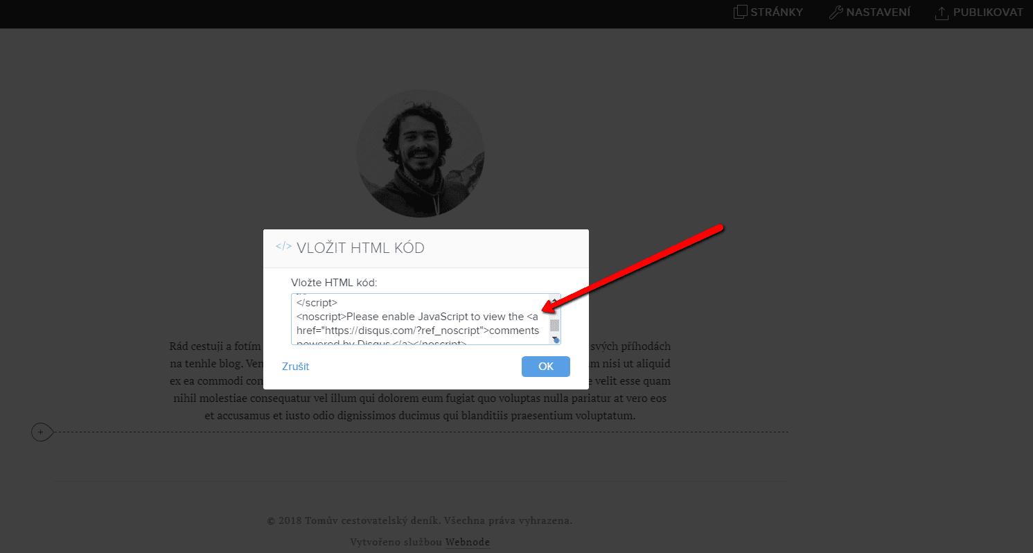 Vloženie kódu na web