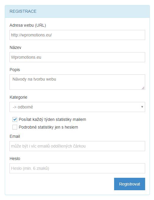 Registrácia na TopList.cz. Prvý krok.