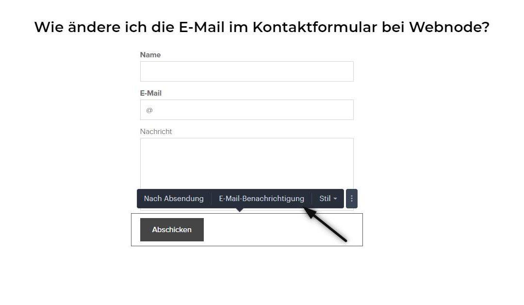 Wie ändere ich die E-Mail im Kontaktformular bei Webnode?
