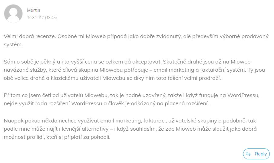 Recenzia systému Mioweb od klienta