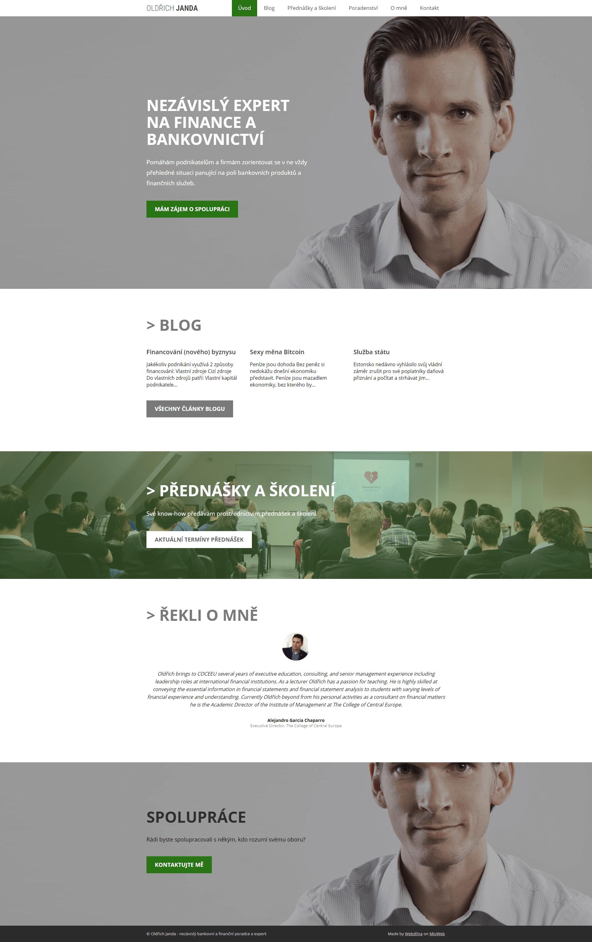 Ukazka webu v Mioweb