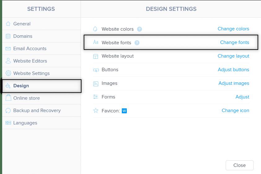 Webnode umožňuje zmeniť fonty v sekcii vzhľad