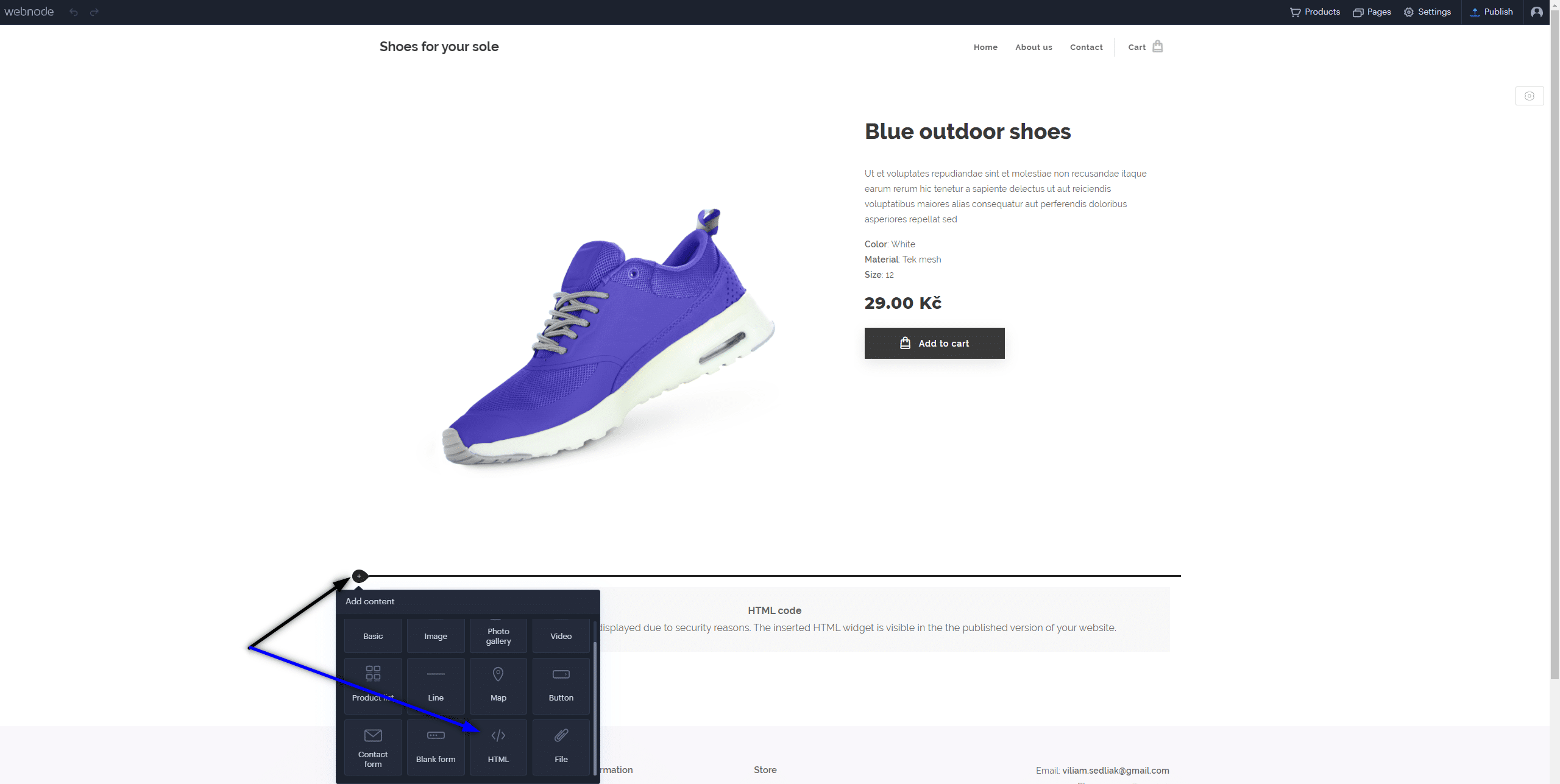 Zmenu tlačítka môžete nastaviť len pre daný produkt Kód vložte len na produktovú stránku daného produktu